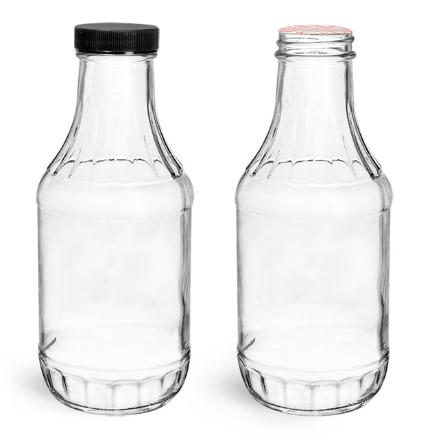 Clear Glass Sauce Decanter Bottles w/ Black Induction Lined Caps