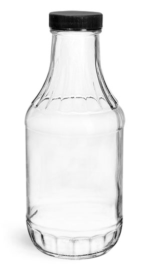 Glass Bottles, 16 oz Clear Glass Sauce Decanter Bottles w/ Ribbed Black Lined Caps