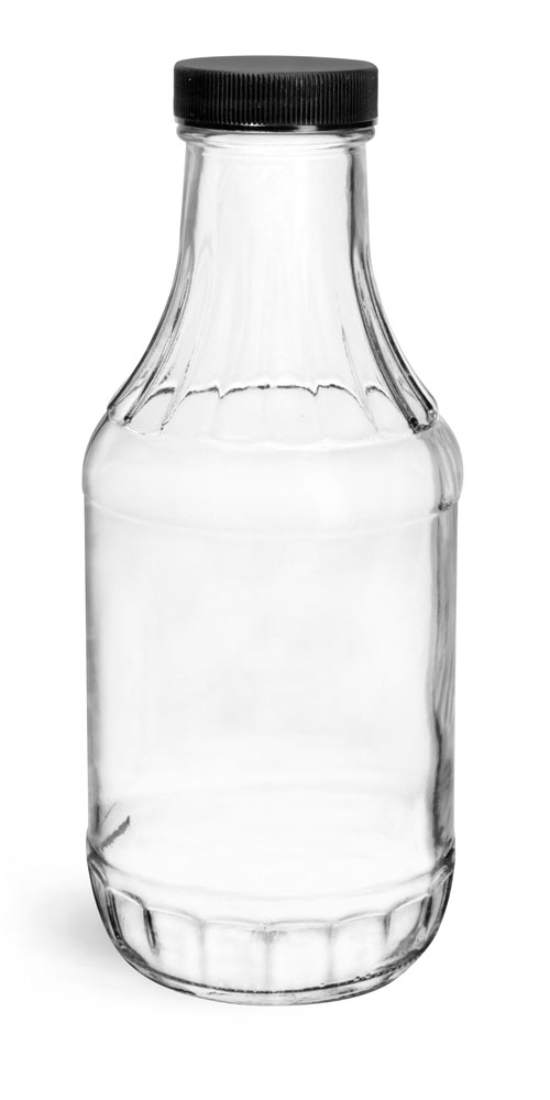 16 oz Clear Glass Sauce Decanter Bottles w/ Ribbed Black Lined Caps