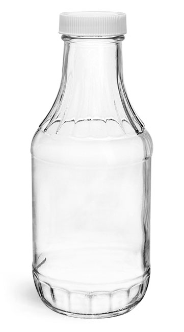Clear Glass Sauce Decanter Bottles w/ Ribbed White Lined Caps