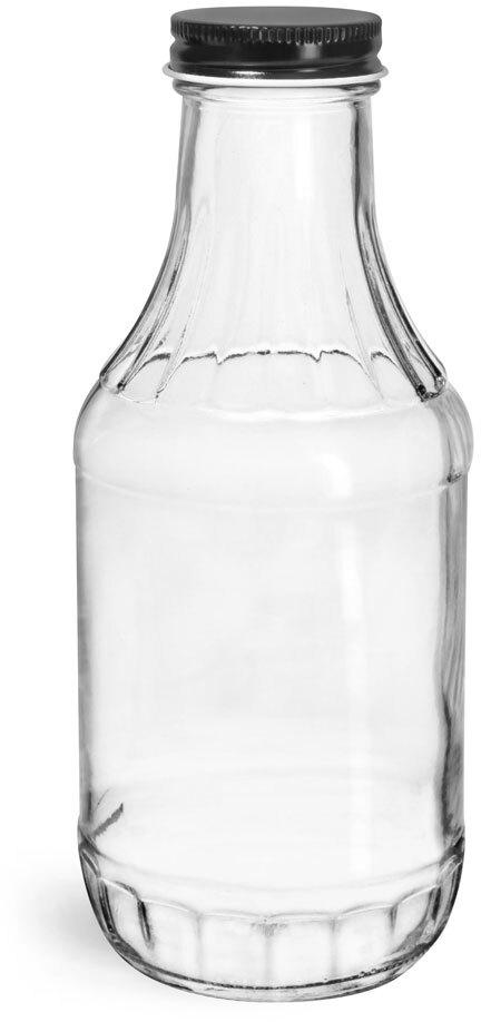 Glass Bottles, Clear Glass Sauce Decanter Bottles w/ Black Metal Plastisol Lined Caps