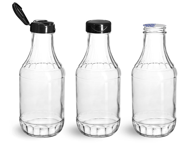 Glass Bottles, Glass Decanter Bottles w/ Black PP Lift 'n' Peel™ Lined Snap Top Caps