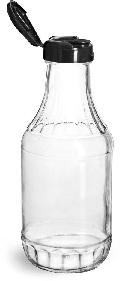 Glass Bottles, Glass Decanter Bottles w/ Black Polypropylene Lift and Peel Lined Snap Top Caps