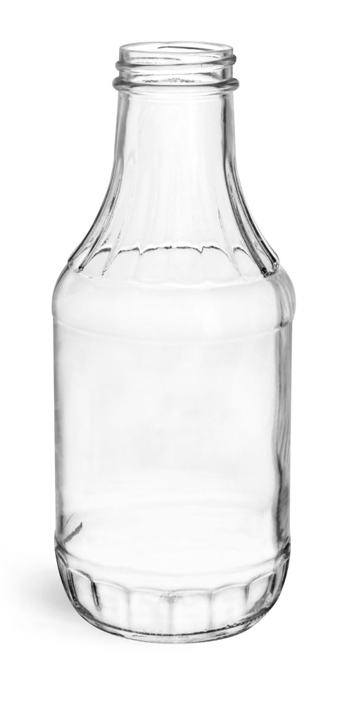 16 oz Clear Glass Sauce Decanter Bottles, (Bulk) Caps NOT Included