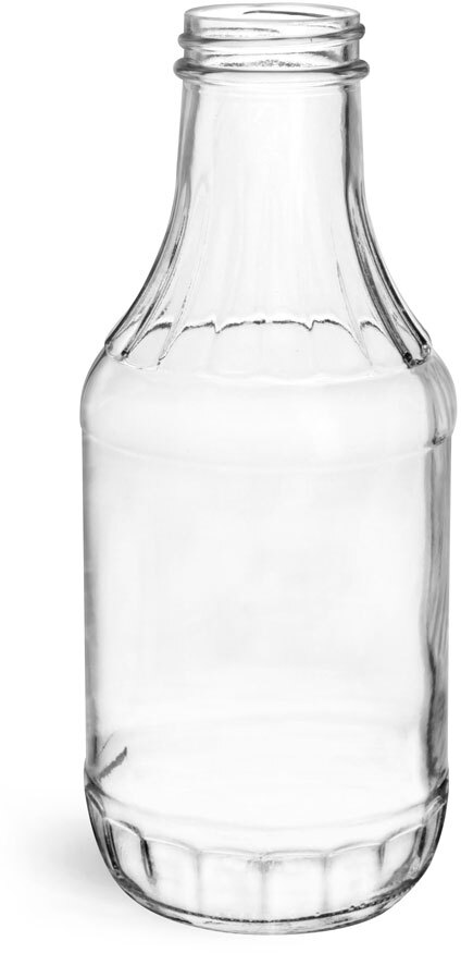 Clear Glass Sauce Decanter Bottles, (Bulk) Caps NOT Included