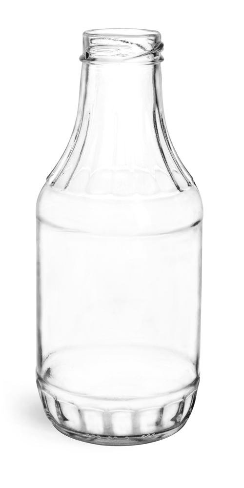 16 oz Clear Glass Sauce Bottles (Bulk), Caps NOT Included