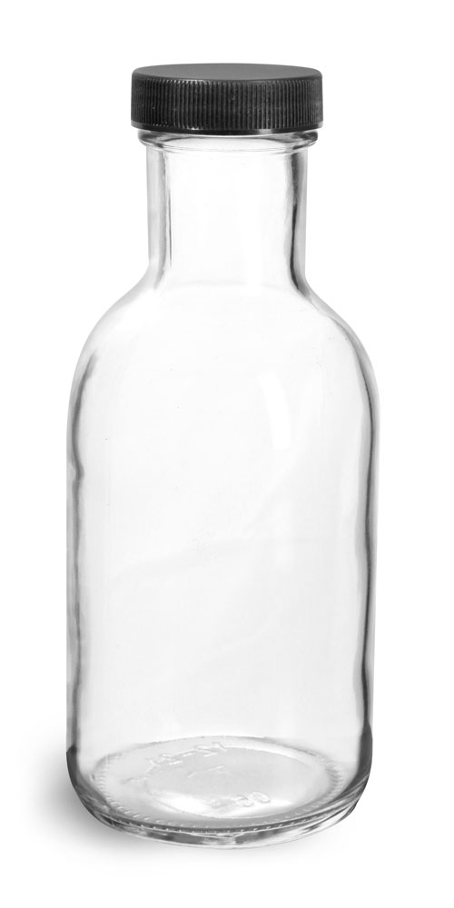 12 oz Glass Bottles, Clear Glass Stout Bottles w/ Black Ribbed Lined Caps