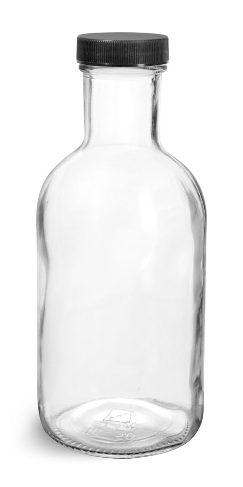 16 oz Glass Bottles, Clear Glass Stout Bottles w/ Black Ribbed Lined Caps
