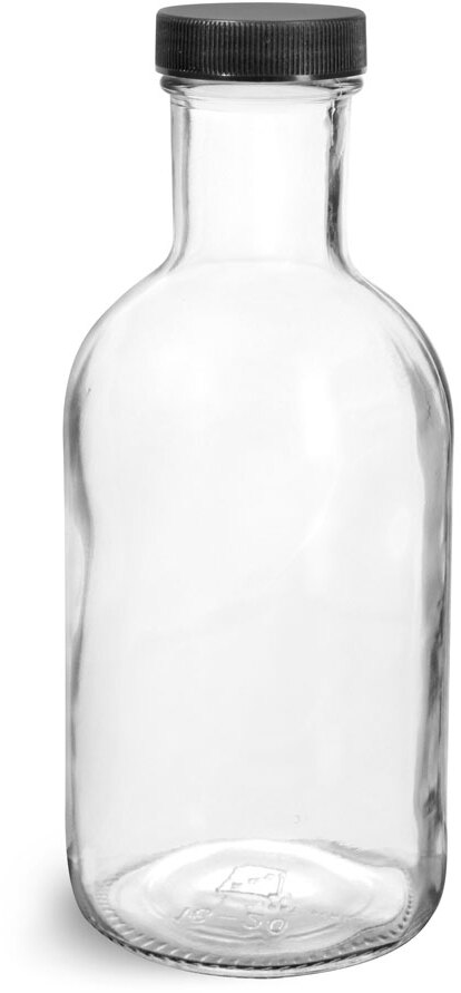 Glass Bottles, Clear Glass Stout Bottles w/ Black Ribbed Lined Caps