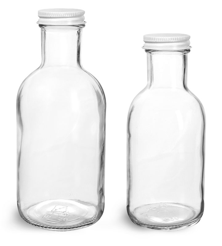Glass Bottles, Clear Glass Stout Bottles w/ White Metal Caps
