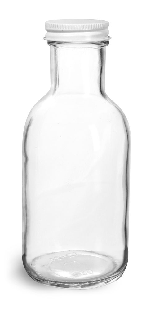 12 oz Glass Bottles, Clear Glass Stout Bottles w/ White Metal Caps