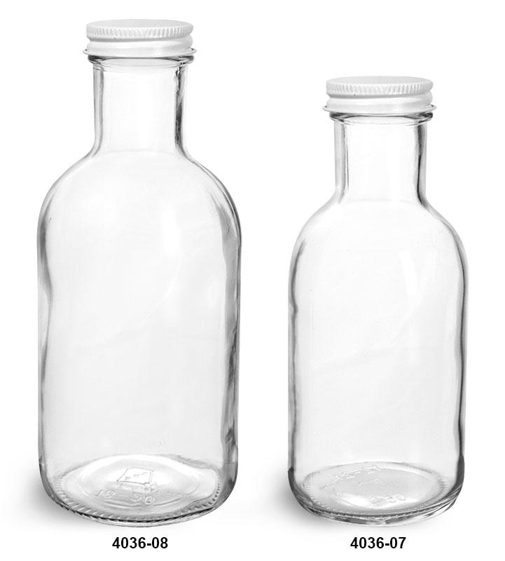 Glass Bottles, Clear Glass Stout Bottles w/ White Metal Caps