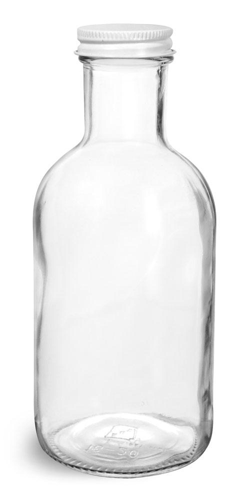 16 oz Glass Bottles, Clear Glass Stout Bottles w/ White Metal Caps