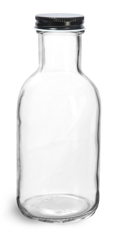 12 oz Glass Bottles, Clear Glass Stout Bottles w/ Black Metal Plastisol Lined Caps