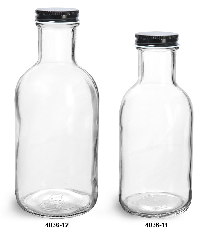Glass Bottles, Clear Glass Stout Bottles w/ Black Metal Plastisol Lined Caps