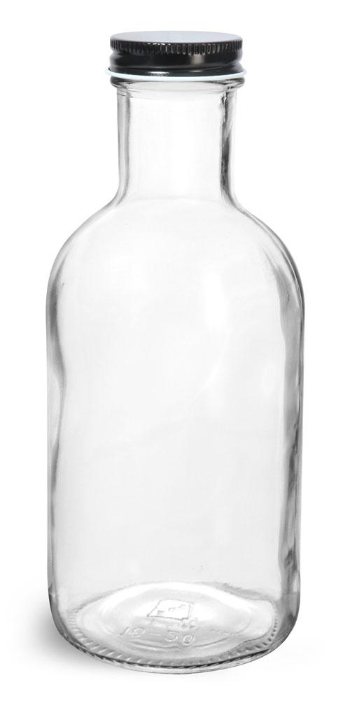 16 oz Glass Bottles, Clear Glass Stout Bottles w/ Black Metal Plastisol Lined Caps