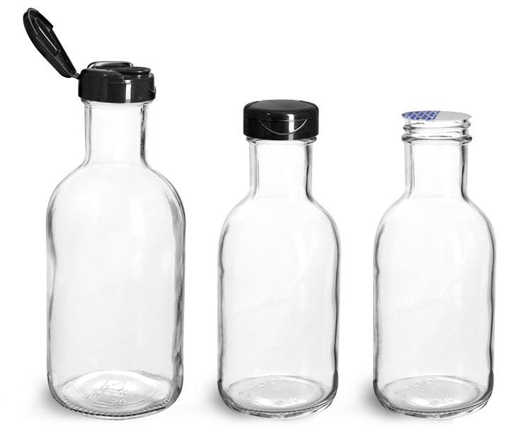 Glass Bottles, Glass Stout Bottles w/ Black PP Lift 'n' Peel™ Lined Snap Top Caps