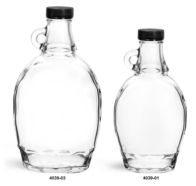 Glass Bottles, Clear Glass Syrup Bottles w/ Black Ribbed Lined Caps