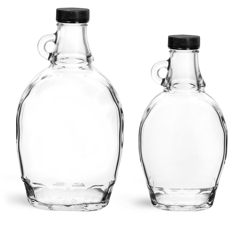 Glass Bottles, Clear Glass Syrup Bottles w/ Black Ribbed PE Lined Caps