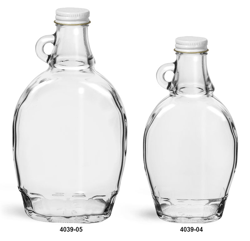 Glass Bottles, Clear Glass Syrup Bottles w/ White Metal Plastisol Lined Caps