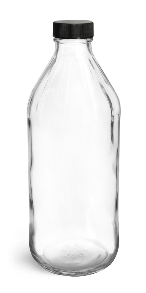 Glass Bottles, Clear Glass Vinegar Style Round Bottles w/ Black Ribbed Lined Caps