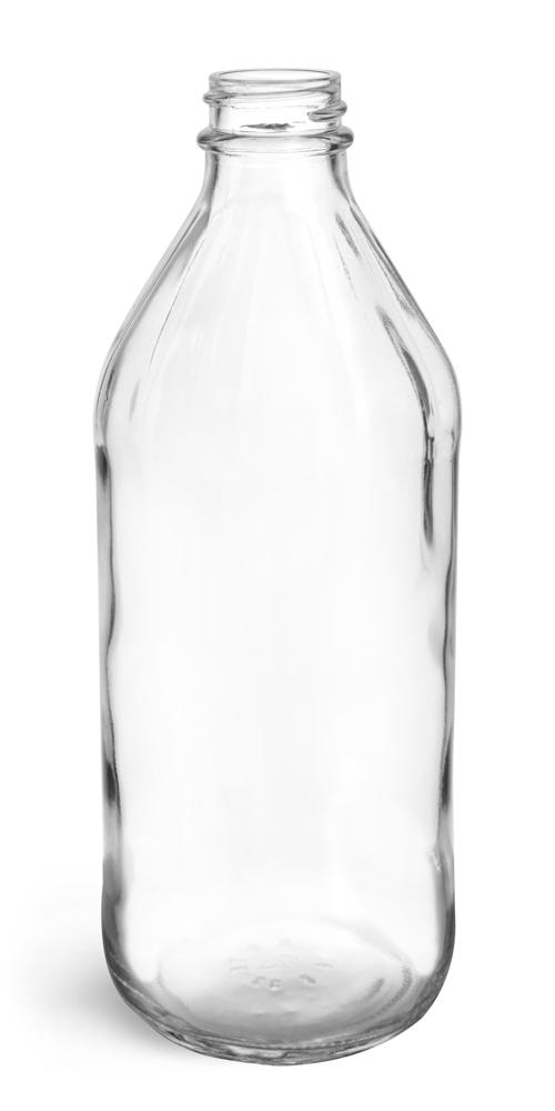 32 oz Clear Glass Vinegar Style Bottles (Bulk) Caps Not Included