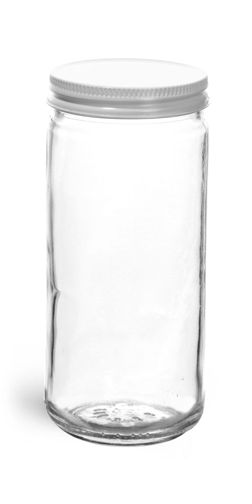 8 oz Clear Glass Paragon Jars w/ White Metal Foil Lined Caps