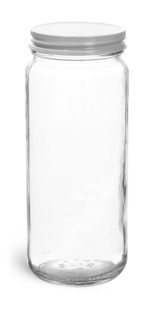 12 oz  Clear Glass Paragon Jars w/ White Metal Foil Lined Caps