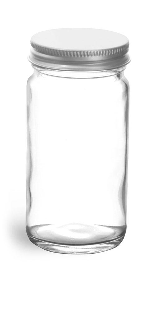 4 oz          Clear Glass Paragon Jars w/ Lined Aluminum Caps