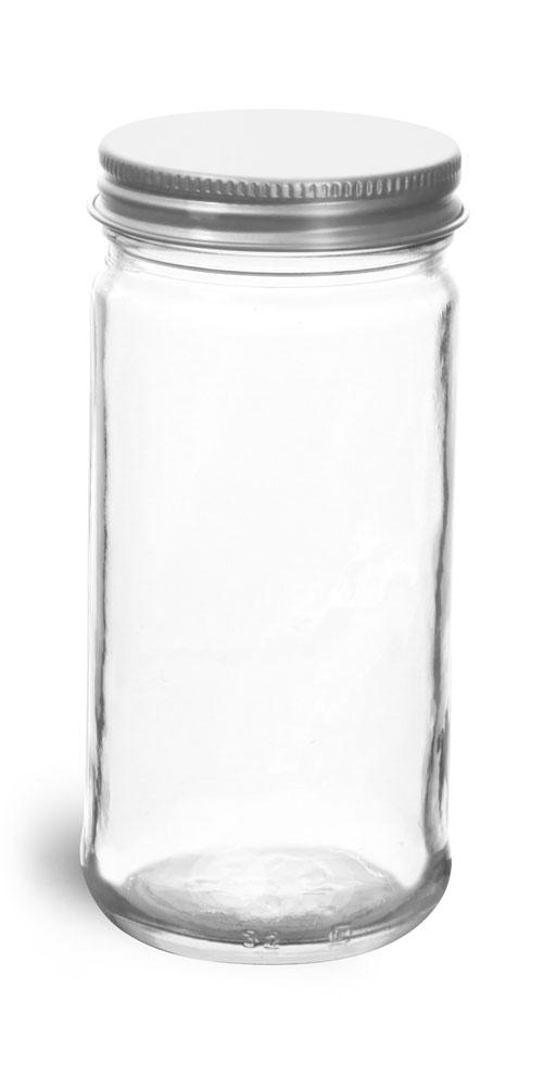6 oz          Clear Glass Paragon Jars w/ Lined Aluminum Caps