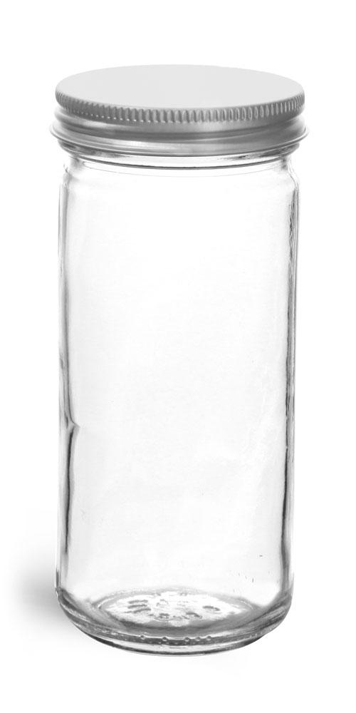 8 oz          Clear Glass Paragon Jars w/ Lined Aluminum Caps