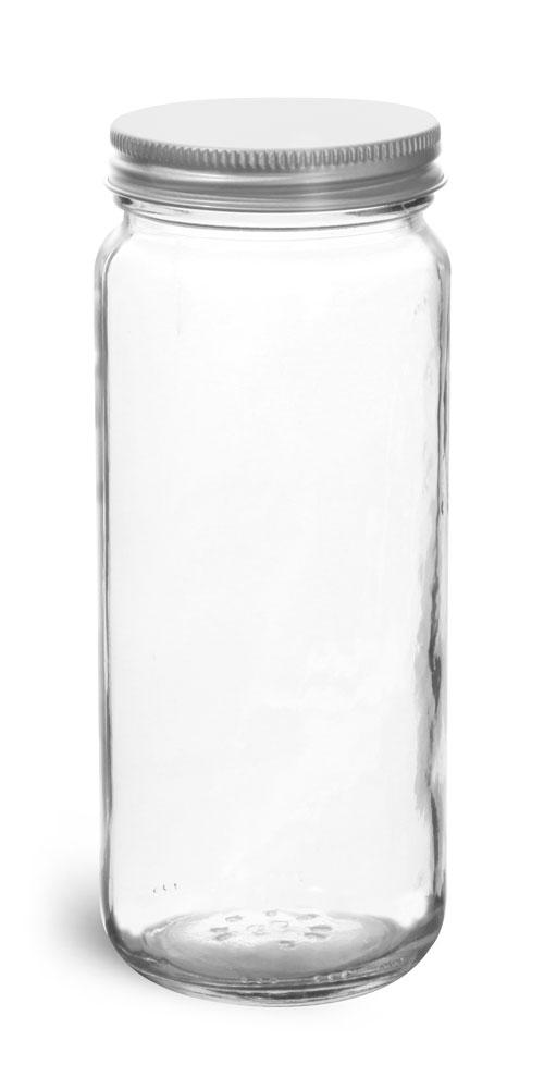 12 oz          Clear Glass Paragon Jars w/ Lined Aluminum Caps