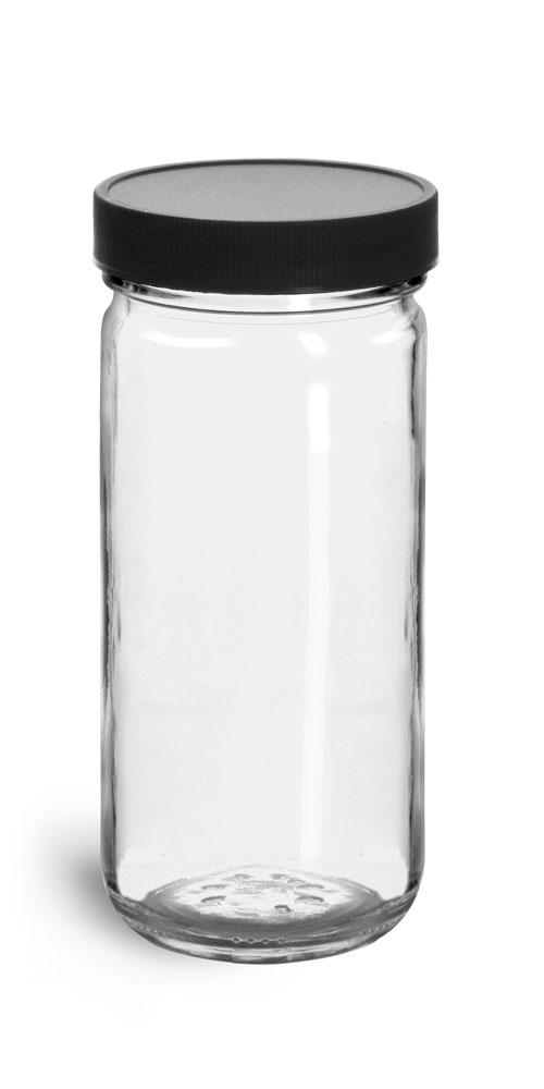 8 oz Clear Glass Paragon Jars w/  Lined Black Ribbed Plastic Caps