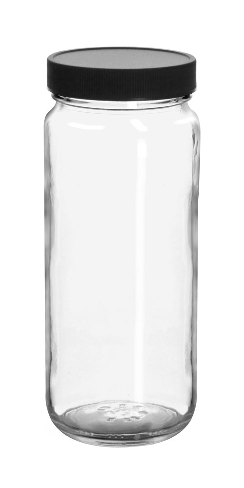 12 oz Clear Glass Paragon Jars w/  Lined Black Ribbed Plastic Caps