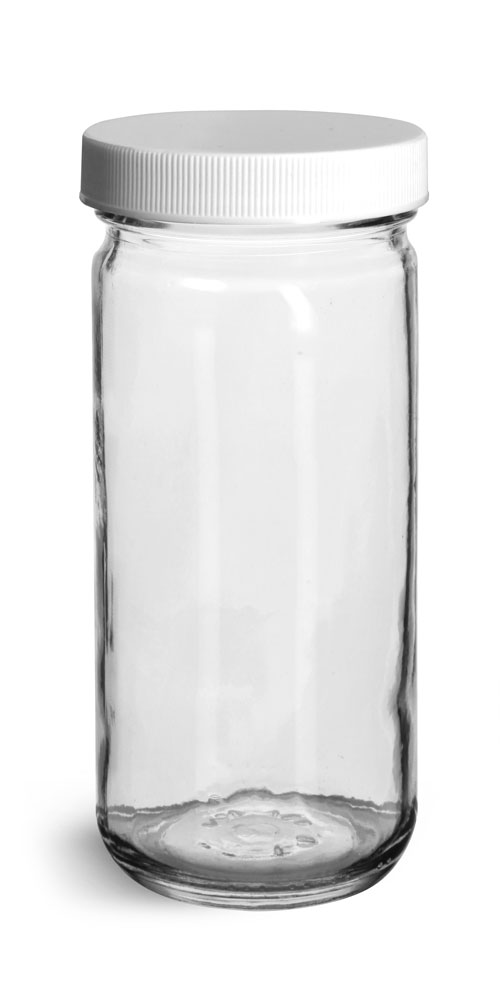 8 oz Clear Glass Paragon Jars w/ Lined White Ribbed Plastic Caps