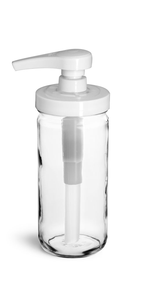 Glass Jars, Clear Glass Paragon Jars w/ White Polypro Pumps