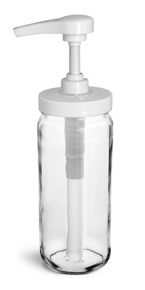 12 oz  Glass Jars, Clear Glass Paragon Jars w/ White Polypro Pumps