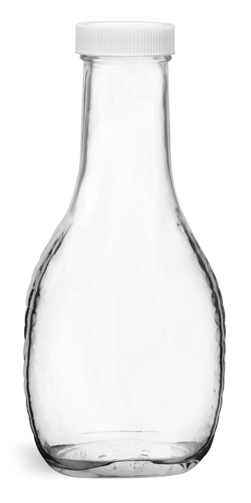 Clear Glass Salad Dressing Style Bottles w/ White Plastic Caps