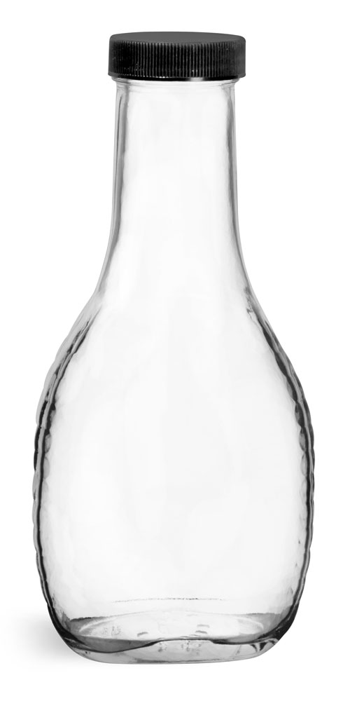 8 oz Clear Glass Salad Dressing Bottles w/ Ribbed Black Lined Caps
