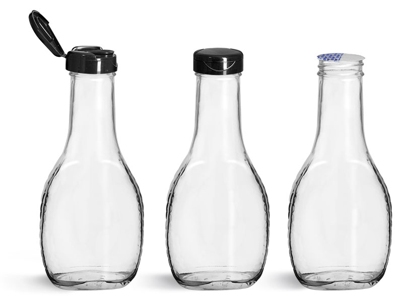 Glass Bottles, Glass Salad Dressing Bottles w/ Black PP Lift 'n' Peel™ Lined Snap Top Caps