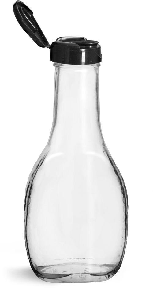 Glass Bottles, Glass Salad Dressing Bottles w/ Black Polypropylene Lift and Peel Lined Snap Top Caps