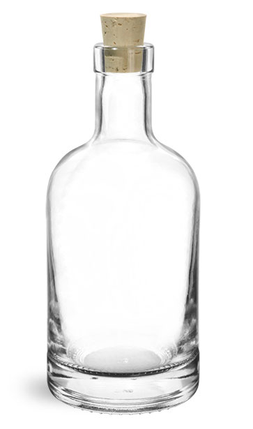 Glass Bottles, Clear Glass Bar Top Bottles w/ Cork Stoppers