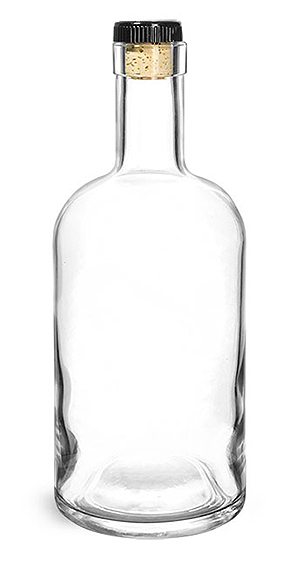 Glass Bottles, Clear Glass Bar Top Bottle w/ Black Ribbed Bar Top Natural Corks