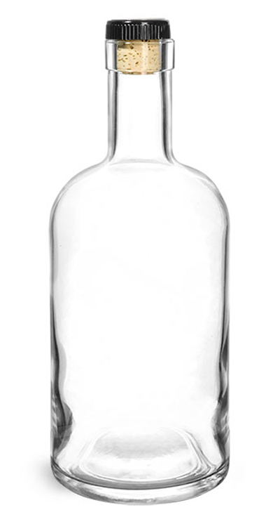 Glass Bottles, Clear Glass Bar Top Bottle w/ Black Ribbed Bar Top Natural Corks