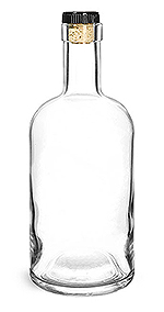 Clear Glass Bar Top Bottle w/ Black Ribbed Bar Top Natural Corks