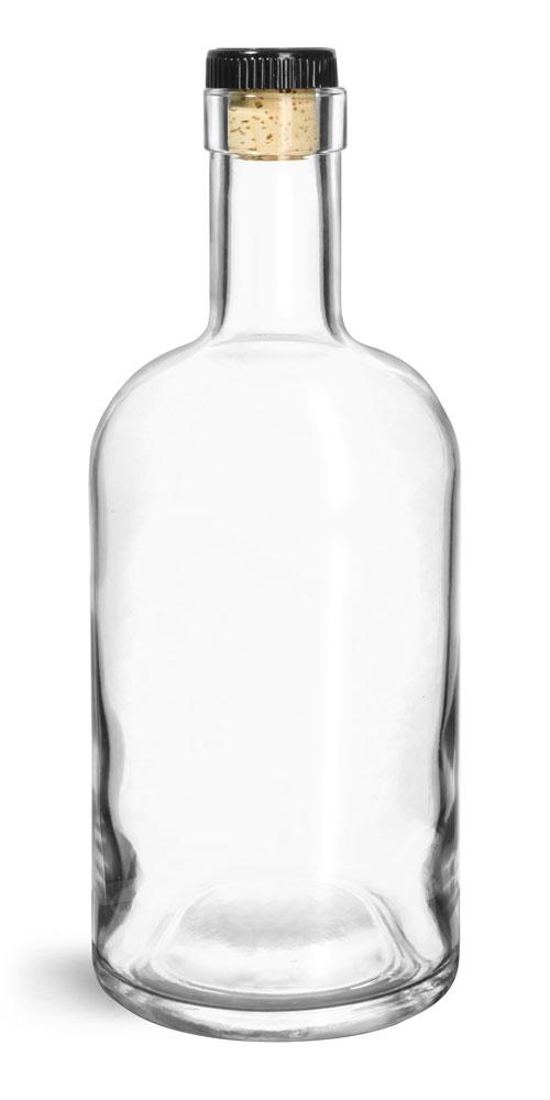 750 ml Glass Bottles, Clear Glass Bar Top Bottle w/ Black Ribbed Bar Top Corks