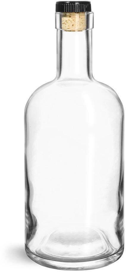 Glass Bottles, Clear Glass Bar Top Bottle w/ Black Ribbed Bar Top Corks