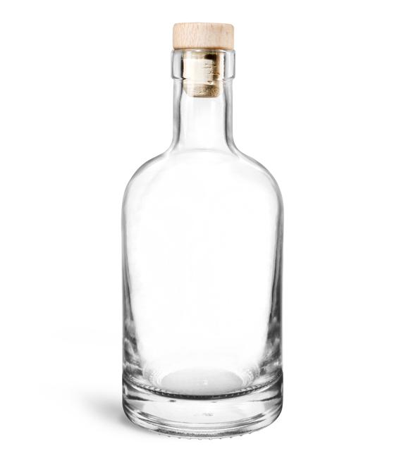 Glass Bottles, Clear Glass Bar Top Bottles w/ Round Wood Bar Top Natural Corks
