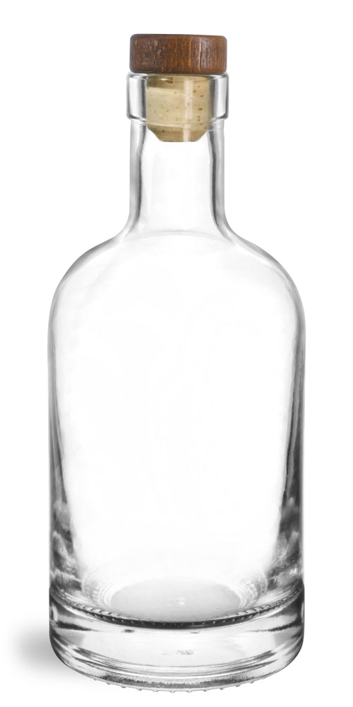 375 ml Glass Bottles, Clear Glass Bar Top Bottles w/ Stained Wood Bar Tops & Natural Corks