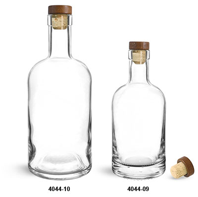 Glass Bottles, Clear Glass Bar Top Bottles w/ Stained Wood Bar Tops & Natural Corks